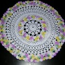 Tiny vintage crocheted doily with 3-D flowers sweet hc1225