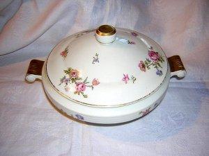 Cerabel porcelain covered serving dish with roses Art Deco hc1228