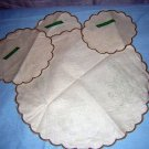 Irish Linen Stamped Table Mats Scalloped Edge Set of 4 hc1242