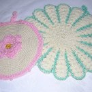 2 Hand crocheted vintage potholders Irish crochet hc1272