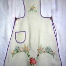 Antique hand embroidered bib apron flower garden hc1283
