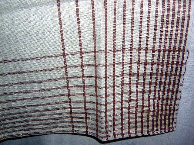 Striped linen towel large unused ox-blood and ivory hc1300