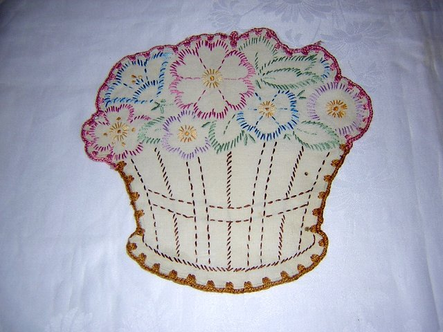 Antique embroidered poupourri holder basket of flowers hc1301