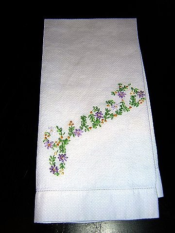 Huck towel hand embroidered Guests threadwork hem vintage linens hc1318