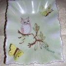 Hand painted china pin dish owl butterfly dragonfly hc1330