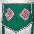 Hostess apron Tyrolean woven trim and pockets green vintage hc1333