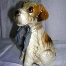Terrier dog with hat figurine ceramic charming vintage hc1342