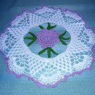 Irish crocheted doily lavender 3-D rose center hc1350