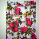 Vintage print half apron fruit bamboo trellis rick-rack hc1354