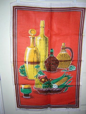 Irish linen towel wine carafes veggies Richardson's unused hc1359