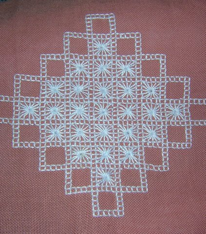 Embroidered table runner dresser scarf Scandinavian style hc1365