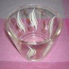 Glass ice bucket bowl printed design Eames era 1950s vintage hc1367