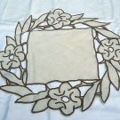 Linen doily or table mat square center cutwork frame hc1373