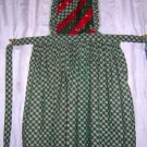 Christmas bib apron multi-print lace edged green red nice one hc1396