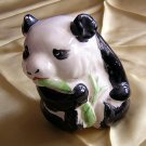 Chinese panda bear ceramic figurine hand-painted adorable vintage hc1413