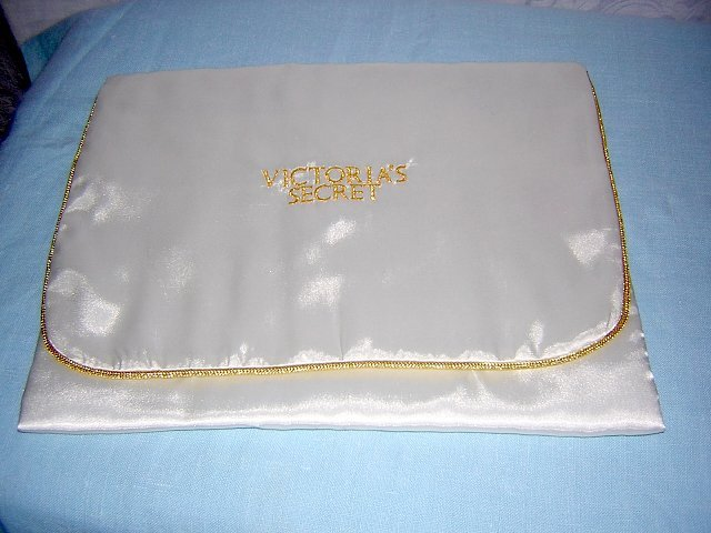 Victoria's Secret Satin lingerie case gold braid piping unused hc1416