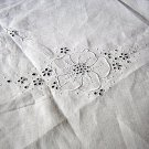 Victorian linen tablecloth topper centerpiece whitework embroidery dogwood hc1417