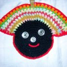 Crocheted black face pot holder button features unused hc1428