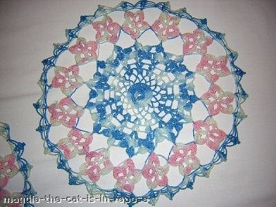 Pair varigated pink and blue floral doilies antique lacy hc1430