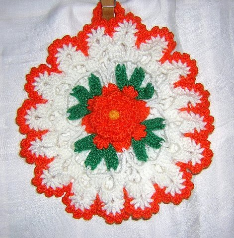 Crocheted pot holder w petaled rose detail hanger unused hc1478