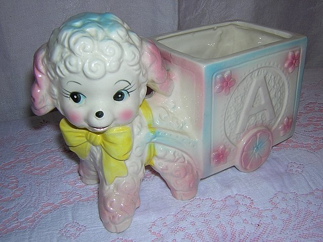 Curly lamb pulling ABCs cart nursery planter 1950s  as new vintage hc1519