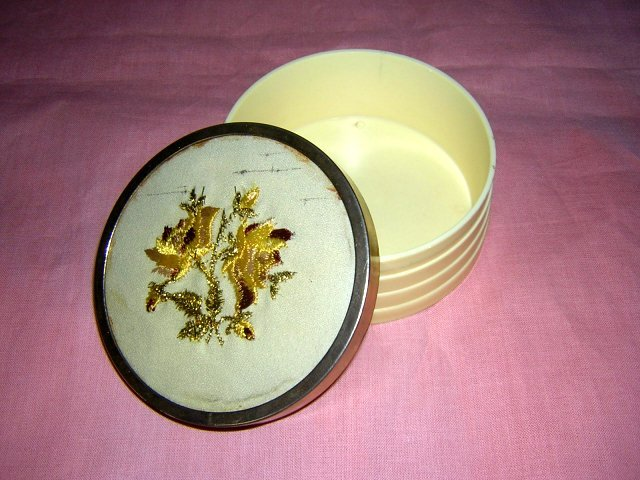 Celluloid powder box embroidered lid vintage hc1520