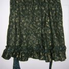 Ruffled cotton half apron Gold print on dark green unused Christmasy hc1522