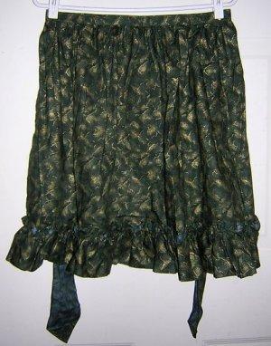 Ruffled cotton half apron Gold print on dark green unused Christmasy hc1522
