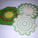 Hand crocheted potholders hot pads excellent vintage hc1524