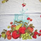 1950s linen tablecloth fruit coffee mill oil lamp vintage linens hc1540