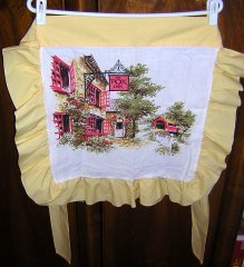 Half apron hand crafted from linen tea towel chintz Fox Inn hc1547