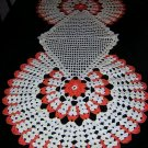 Hand crocheted table runner mats set very Art Deco hc1567