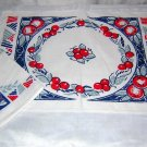 Art Deco placemats napkins apples cherries 4 ea vintage linens hc1569