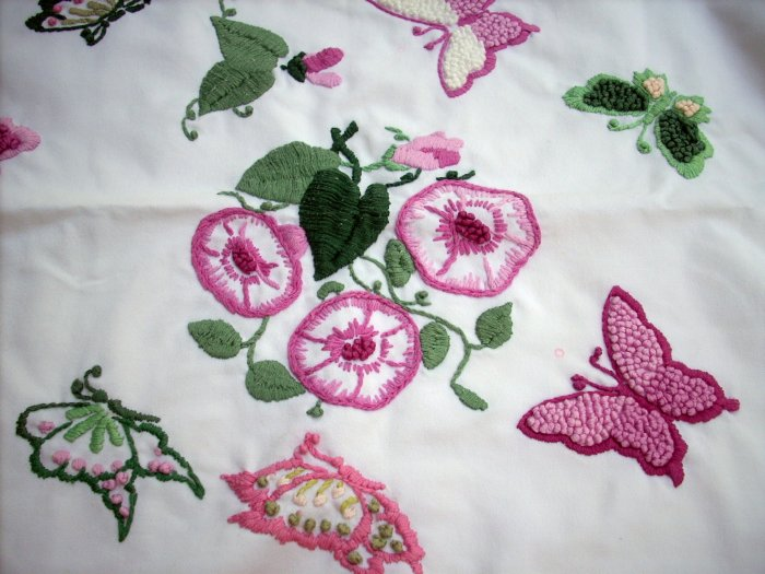 Crewel embroidered pillow sham butterflies morning glories vintage linens hc1588