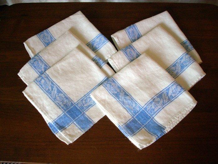 6 Linen jacquard weave napkins blue floral border classic vintage linens hc1614