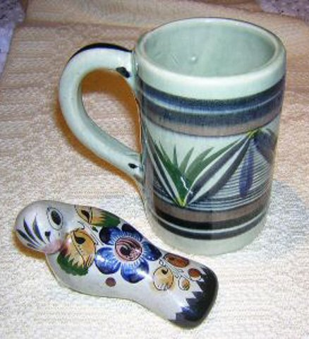 Tonala Mexican pottery mug signed numbered hc1624