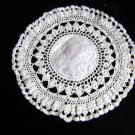 Vintage hand crocheted doily with linen center hc1631