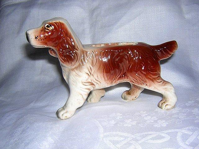Spaniel dog tiny ceramic planter made in Japan vintage hc1636