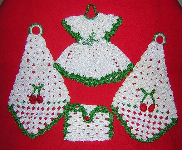 4 Hand crocheted decorations Christmas colors dress envelope cones vintage needlework hc1643