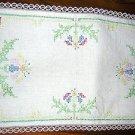 Antique linen table mat runner cross stitch flowers hc1670