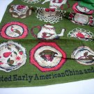 Painted Early American China and Glass linen towel apron unused vintage hc1682