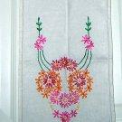Embroidered flowers linen dresser scarf runner threadwork vintage hc1692