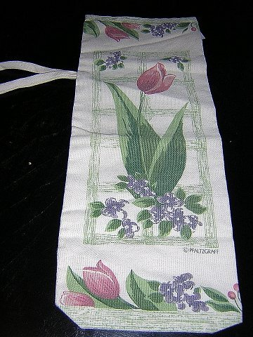 Pfaltzgraff cotton wine tote bag red tulips purple violets unused vintage linens hc1710