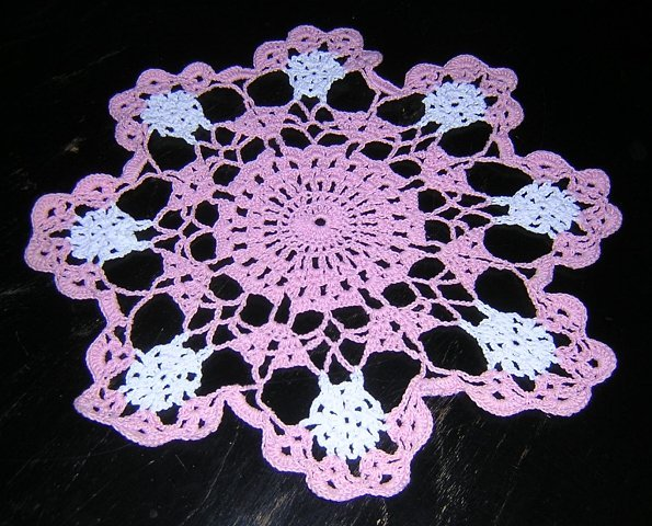 Bubblegum pink and white crocheted doily quite vintage hc1717