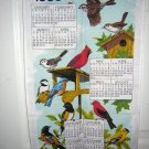 Bird calendar tea towel 1993 cotton 2 available pristine condition hc1720