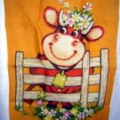 Dunmoy Irish linen towel smiling cow floral hat hanger hc1740