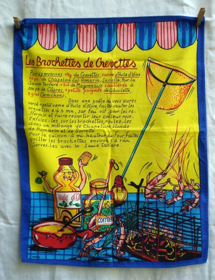 Les Brochettes de Crevettes recipe tea towel in French unused hc1744