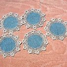 5 Drink coasters tiny mats crocheted edges vintage linens hc1753