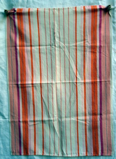 Striped vintage linen tea towel orange pink red white hc1759