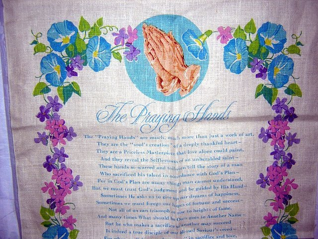 1978 Praying hands calendar towel Helen Steiner Rice morning glories hc1770
